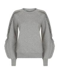 Burberry - Gray Ruffled Jersey Sweatshirt - Lyst