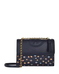Tory Burch - Blue Printed Fleming Convertible Shoulder Bag - Lyst