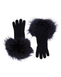 Weekend by Maxmara - Black Fur Cuffed Gloves - Lyst