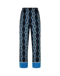 St. John - Blue Geometric Wide-leg Trousers - Lyst