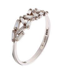 Suzanne Kalan - White Gold Chevron Diamond Ring - Lyst