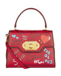 Dolce & Gabbana Red Mural Print Welcome Handbag
