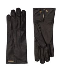 Burberry - Black Leather Gloves for Men - Lyst