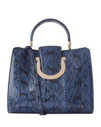 Ferragamo - Green Medium Thea Python Top Handle Bag - Lyst