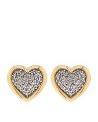 Links of London - Metallic Diamond Essentials Pavé Diamond Heart Earrings - Lyst