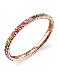 Sydney Evan - Metallic Rose Gold Rainbow Ring - Lyst