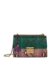 Gucci Python Padlock Shoulder Bag in Green - Lyst 820ab6a30a291