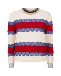 Gucci | Blue Tricolour Knit Stripe Jumper | Lyst