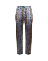 Meng - Purple Abstract Silk Pyjama Bottoms - Lyst