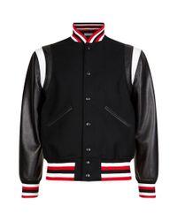Givenchy - Black Embroidered Logo Contrast Sleeve Bomber Jacket for Men - Lyst