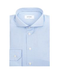 Eton of Sweden - Blue Blurred Check Formal Shirt for Men - Lyst