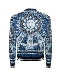 Dolce & Gabbana - Blue Bomber In Printed Nylon for Men - Lyst