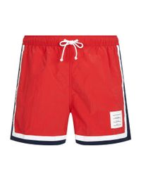 Thom Browne | Red Classic Swim Trunks for Men | Lyst