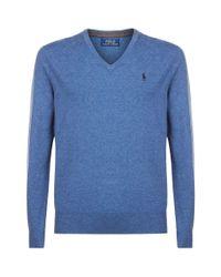 Polo Ralph Lauren Blue Merino Wool V-neck Sweater for men