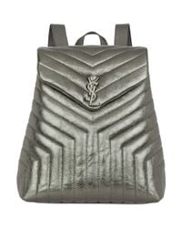 Saint Laurent - Gray Monogram Quilted Leather Backpack - Lyst