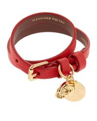 Alexander McQueen - Red Double Wrap Leather Skull Bracelet - Lyst