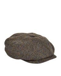 Stetson Green Harris Tweed Newsboy Cap for men