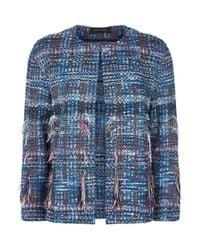 St. John | Blue Boucl Fringed Jacket | Lyst
