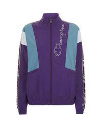 Champion - Block Colour Zipped Jacket, Purple, Xs - Lyst