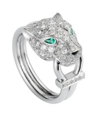 Cartier - Metallic White Gold And Diamond Panthre De Ring - Lyst