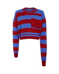 Raf Simons - Red Striped Long Sleeve Cropped Sweater for Men - Lyst