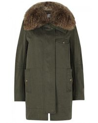 Yves Salomon | Green Olive Fur Trimmed Twill Parka | Lyst