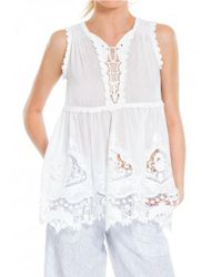 Leon Max | White Embroidered Cotton & Silk Voile Shell | Lyst