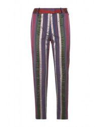 Varana - Blue Striped Silk Trousers - Lyst