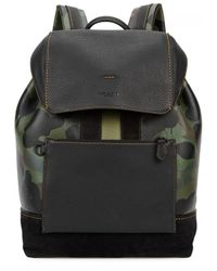 COACH | Green Camouflage-print Leather Backpack | Lyst