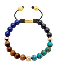 Nialaya | Blue 14kt Gold Tiger Eye, Lapis And Turquoise Beaded Bracelet for Men | Lyst