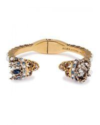 Alexander McQueen - Metallic Swarovski Crystal-embellished Skull Bracelet - Lyst