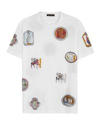 Versace | White Badge-print Cotton T-shirt for Men | Lyst