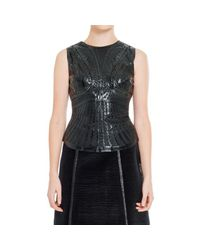 Max Studio - Black Laser Etched Patent Sleeveless Shell - Lyst