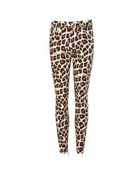 Mother - Brown Looker Leopard-print Jeans - Lyst