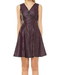 Max Studio - Purple Fit And Flare Coated Applique Dress - Lyst
