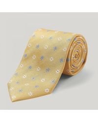Harvie and Hudson - Yellow And White Spikey Flower Woven Silk Tie for Men - Lyst
