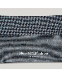 Harvie and Hudson - Purple And Sky Houndstooth Merino Mix Sock for Men - Lyst
