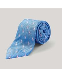 Harvie and Hudson - Blue Sky And Pink Giraffe 100% Silk Woven Tie for Men - Lyst