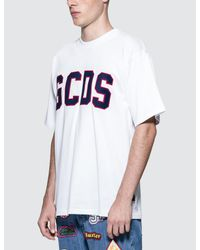 Gcds | White Logo Flock T-shirt for Men | Lyst