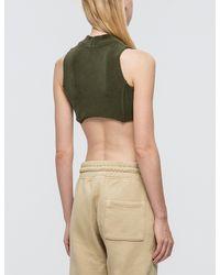 Yeezy - Green Raw Edged Crop Top - Lyst