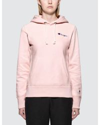 1228140cb82 Champion Small Logo Warm-up Hoodie in Pink - Lyst