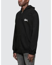 Stussy - Black Basic Zip Hoodie for Men - Lyst