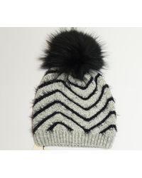 276f1454a4ef9 James Lakeland Grey And Black Raccoon Knit Fur Pom Pom Hat in Gray ...