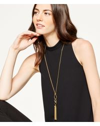 Henri Bendel | Metallic Gem Tassel Necklace | Lyst