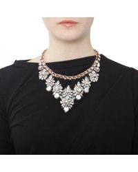 Shourouk - Metallic Princess Theresa Pearl And Swarovski Collar Silver - Lyst