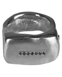 Rosa Maria | Metallic Seven Black Dimaond Solid Silver Ring Womens | Lyst