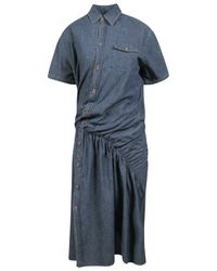 Junya Watanabe | Asymmetric Gathered Shirt Dress Blue | Lyst