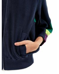 Sacai - Blue High Collar Zip-up Sweater - Lyst