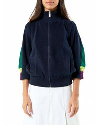 Sacai | Blue High Collar Zip-up Sweater | Lyst