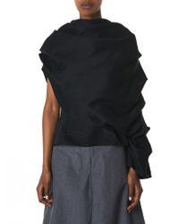 Awake - Black Asymmetric Draped Blouse - Lyst
